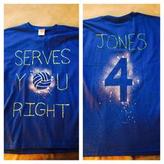 Volleyball team t-shirts made with fabric pens and fabric spray paint