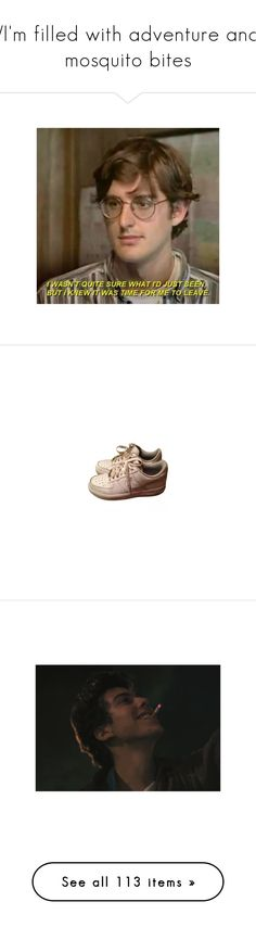 """""""/I'm filled with adventure and mosquito bites\"""" by cletus-fetus ❤ liked on Polyvore featuring backgrounds, pics, shoes, sneakers, shoes - sneakers, leather sneakers, white shoes, nike trainers, nike sneakers and genuine leather shoes"""