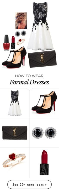 """formal black, white and red"" by gmazhandu on Polyvore featuring Coast, Christian Louboutin, Yves Saint Laurent, OPI, women's clothing, women, female, woman, misses and juniors"