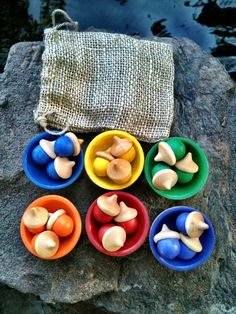 Montessori inspired Sorting bowls (6) with total of 18 acorns for $15