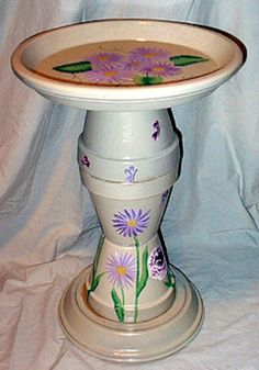 You will have endless pleasure watching the birds preening and cleaning in beautiful hand painted flower pot bird baths.  Here you will find lots of creative ideas to make your own....
