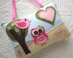 Ragazze Tooth Fairy Pillow, gufo feltro porta cuscino - personalizzate con nome