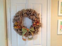 18 inch burlap wreath with easy to remove seasonal bow and decor