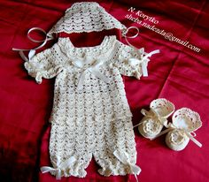 Christening+set++booties+bonnet+gown+and++by+HandmadebyNadiyaK,+$119.99