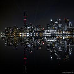 Toronto Skyline Reflection in Lake Ontario Toronto Skyline, Seattle Skyline, Monuments, Toronto Pictures, Toronto Canada, Favim, Great Lakes, Canada Travel, Night Photography