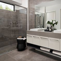 Classique | Interior Design Style - Dennis Family Homes, Home And Family, New Homes, Family Bathroom, White Houses, Bathroom Interior Design, White Bathroom, Grey And White, Bathrooms