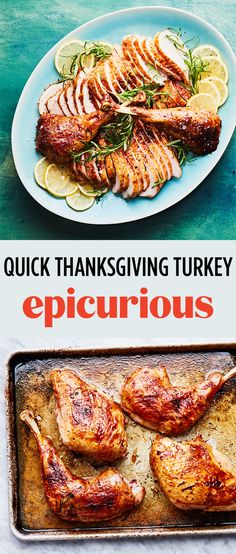 Quick Thanksgiving Turkey with Lemon-Garlic Butter Recipe Thanksgiving Main Dishes, Thanksgiving Turkey, Thanksgiving Recipes, Best Turkey Recipe, Turkey Recipes, Epicurious Recipes, Grilling Sides, Butter Recipe, Garlic Butter
