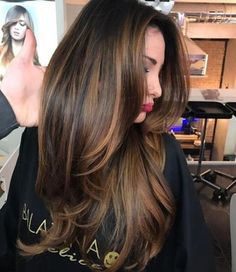 Long Brown Hair With Layers And Thin Highlights Longs cheveux bruns avec des couches et des reflets fins Source by . Brown Hair With Blonde Highlights, Brown Hair Balayage, Ombre Hair, Caramel Hair Highlights, Brunette Ombre, Brunette Highlights Summer, Light Brown Highlights, Long Brunette Hair, Light Brown Hair
