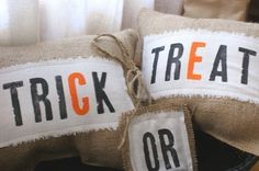 Burlap Halloween pillows