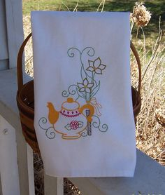 Embroidered Tea Towel/ Kitchen Dish Towel Country by QuiltQuints, $9.00