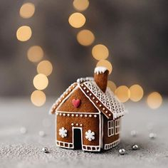 The little gingerbread house that could. What holiday traditions do you like to do? Christmas Gingerbread House, Christmas Sweets, Christmas Mood, Christmas Baking, Christmas Crafts, Christmas Decorations, Gingerbread Houses, Gingerbread Cookies, Christmas Cookies