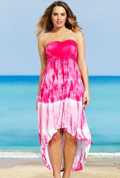 5aa59d22d2 Pink Tie Dye Plus Size Smocked Hi Low dress Bathing Suit Covers