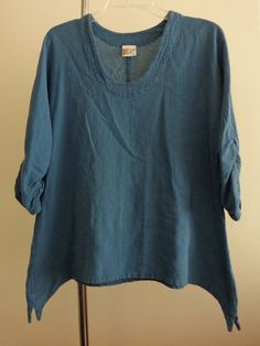 Oh My Gauze tunic lagenlook top blue crinkled artsy art to wear quirky sz OS #OhMyGauze #Tunic #Casual