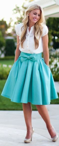 Take A #Bow #Skirt: #Mint by Elle Apparel => Click to see what she wears