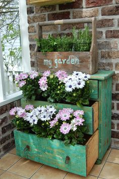 67 Upcycled Furniture Planter Ideas - Unique Balcony & Garden Decoration and Eas. 67 Upcycled Furniture Planter Ideas – Unique Balcony & Garden Decoration and Easy DIY Ideas Balcony Planters, Balcony Garden, Garden Planters, Garden Chairs, Vintage Garden Decor, Vintage Planters, Upcycled Furniture, Garden Furniture, Planter Boxes