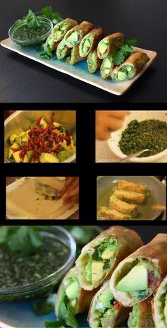 avocado eggrolls (vegan) w/ sweet cilantro sauce. taste just like cheesecake factory version! score.