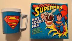 SUPERMAN HOT COCOA MIX UNUSED BOX w Mail Order Advertised SUPERMAN MUG