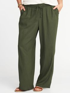Plus-Size Linen-Blend Wide-Leg Soft Pants