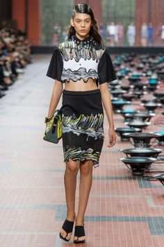 Kenzo Spring 2014 RTW. #Kenzo #Spring2014 #PFW watercolor. painterly. waves. black anchor. crop top. pencil skirt.