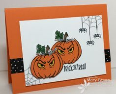 stampercamper.com - The theme for yesterday's Create with Connie and Mary design team blog hop was 'Halloween Boo' - spooky Halloween cards.  I thought these little pumpkins are just a little spooky!  Visit my blog for the details and to start the hop.  Sets:  Jar of Haunts, Spooky Fun