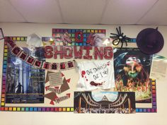 High school English classroom bulletin board with The Crucible and Macbeth