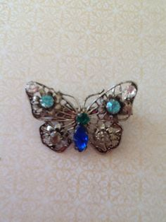 Vintage Blue and Green Rhinestone Butterfly Brooch by QuiltsETC, $17.99