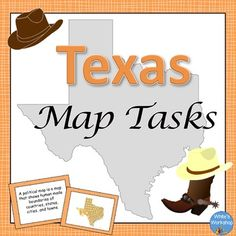 Texas Map Skills Task Cards by White's Workshop | Teachers Pay Teachers