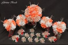 Beaded Lily Bridal Bouquet Wedding Flower 17 Piece Set Coral Beads Silk Rose | eBay