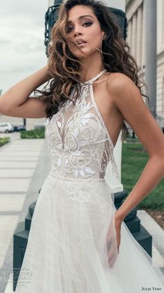 julie vino fall 2018 havana sleeveless jewel halter neck heavily embellised bodice elegant romantic soft a  line wedding dress open back chapel train (3) zv -- Julie Vino Fall 2018 Wedding Dresses
