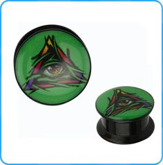 Fancy Eye in Triangle Epoxy Acrylic Black Plugs Wholesale Body Jewelry Ear Gauges