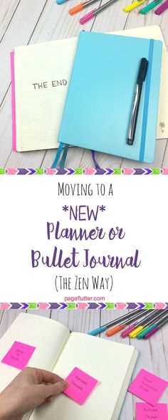 Printable checklist for moving to a new Bullet Journal or planner.