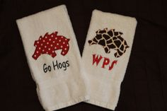 Arkansas Razorback Applique Hand Towels by 2by2designs on Etsy