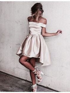 prom dresses,New Arrival Cute Off the Shoulder Short Sleeves High Low Prom Dress with Pleats