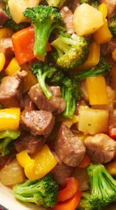 Sweet-and-Sour Pork Stir-Fry ~ There's no need for takeout when you can do it better—and with this simple stir-fry recipe, you'll top anything that comes in little white box. recipes for two recipes fry recipes Healthy Pork Recipes, Wok Recipes, Stir Fry Recipes, Asian Recipes, Cooking Recipes, Pork Stirfry Recipes, Simple Pork Recipes, Hawaiian Recipes, Health And Wellness