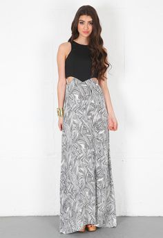 Donna Mizani Theodore Cut Out Maxi Dress in Black/White  $346