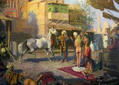 Two female slaves for the horse. Arte Pulp Fiction, Minoan Art, Watercolor Architecture, Arabic Art, Dark Fantasy Art, Native American Art, Ancient Art, Female Art, Oriental