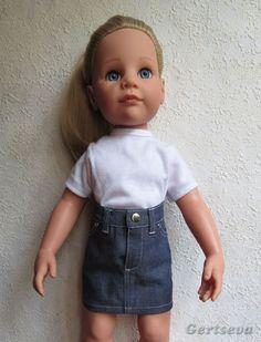Мастер-класс по пошиву джинсовой юбочки для куклы Готц , с выкройкой