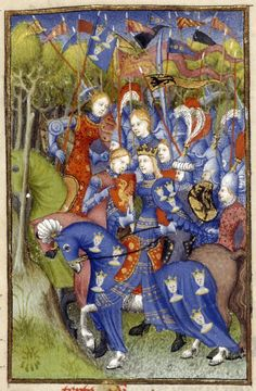 Detail of a miniature of Queen Penthesilea with and her army of Amazons riding through the forest to aid the Trojan army, from 'L'Épître Othéa', Harley MS 4431, f. 103v