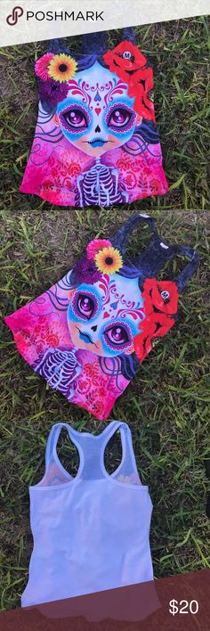 Day of the Dead Tank Top Pretty Sugar Skulls M Super cute Dia de Los Muertos Design! Also available as Onesie or shirts for Girls! Cielito Lindo Tops Tank Tops