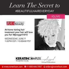 Virtual Edu! Get inspired with #KeratinComplex and learn how to get stronger, smoother + healthier hair! Tune in to @keratincomplex IGLive and hear from the experts. At-home toning hair treatment your hair will love you for! @jerzygirl1015 WEDNESDAY, JUNE 9 1:00PM EST / 10:00AM PST . . #keratincomplex #beautifulhaireveryday #kcunplugged #frizzfree #healthyhair Keratin Complex, Healthier Hair, Free Hair, The Secret, Wednesday, Your Hair, Curly Hair Styles, June, Love You