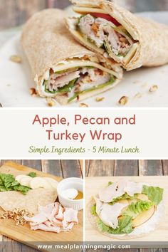 With it's salty sweet and crunchy combination, this Apple Honey Pecan and Turkey Wrap recipe is sure to be a hit! A simple lunch idea that is ready in just 5 minutes! #turkeywrap #sandwichwrap #easylunch