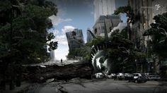 trees cars buildings crack Statue of Liberty apocalyptic photo manipulation