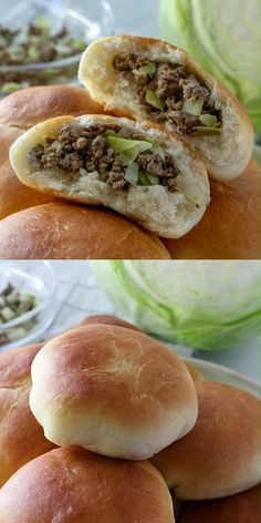 "(aka Bierocks) Runzas - a delicious homemade bun stuffed with ground beef, cabbage, and cheese! It's the original ""Hot Pocket"".Runzas - a delicious homemade bun stuffed with ground beef, cabbage, and cheese! It's the original ""Hot Pocket"". Meat Recipes, Dinner Recipes, Cooking Recipes, Healthy Recipes, Chicken Recipes, Slovak Recipes, Lithuanian Recipes, Austrian Recipes, Cooking Courses"