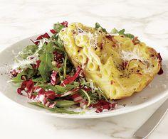 Pasta Carbonara Frittata---fun idea of a way to give pasta a very crusty edge.