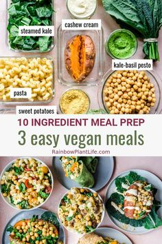 The easiest vegan meal prep ever! It requires just 10 ingredients and hours of prep, and will turn everyday, affordable ingredients into 3 effortless vegan meals that don't skimp on flavor. Vegan Recipes Easy, Whole Food Recipes, Vegetarian Recipes, Healthy Meal Prep, Healthy Eating, Healthy Everyday Meals, Healthy Food, Vegan Art, Vegan Food