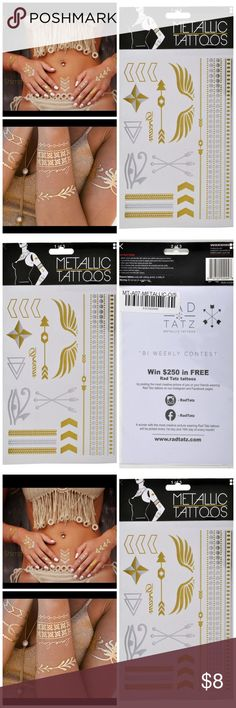 COACHELLA BOHO METALLIC TATTOS TEMPORARY TATTOO BOHO METALLIC TATTOOS ☮️❤️ brand new  easy to use  perfect for festivals, beaches, & summer ☀️ Color: silver and gold. You will receive the pack in the photos. The model pictures are for style reference only. This listing is for one sheet. However, I have many more sheets and will bundle each additional sheet for only $2 more. Just let me know and I'll make you a new listing  rad tatz  Accessories