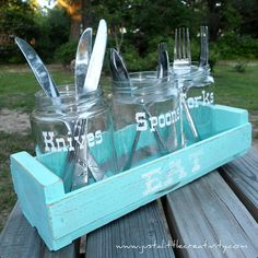 Picnic Utensil Caddy {Upcycle Makeover} - the little jars are pickle jars! Utensil Caddy, Silverware Caddy, Utensil Holder, Table Caddy, Glass Jars, Mason Jars, Pickle Jars, Pickle Jar Crafts, Bbq Party