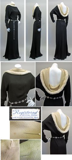 1930s medieval-inspired gown with fur cowl, Fashion Originators Guild, NY