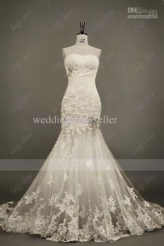 Wholesale - Fashion Style Crystals Lace Feather Strapless Beads Ruffle Mermaid Wedding Dresses With Sweep Strain