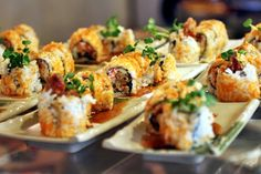 Spider Roll: fried soft shell crab, crab meat, cucumber, sprouts, masago, teriyaki sauce